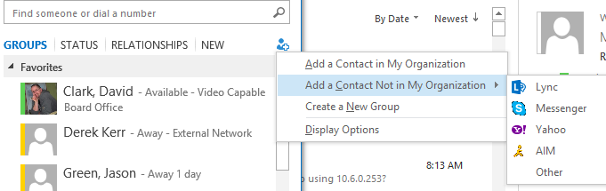 Lync Messenger Changing Add a Contact Not in My Organization from MSN Messenger to Skype